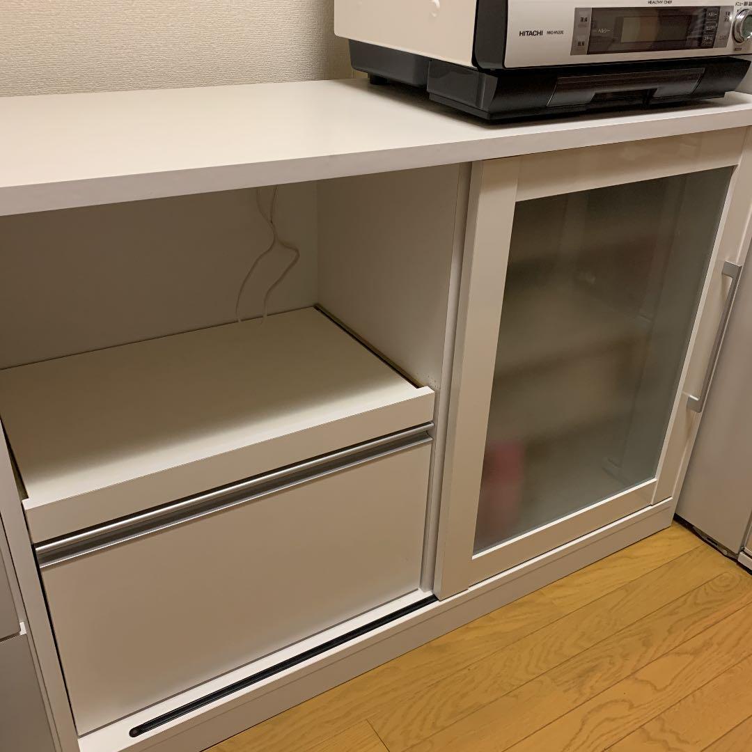 ノーブランド品 キッチンカウンター ミニ食器棚 ホワイト 120センチ幅